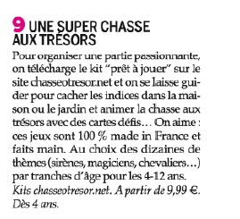 Article ChasseOtresor dans Parents n°551 - Mai 2015